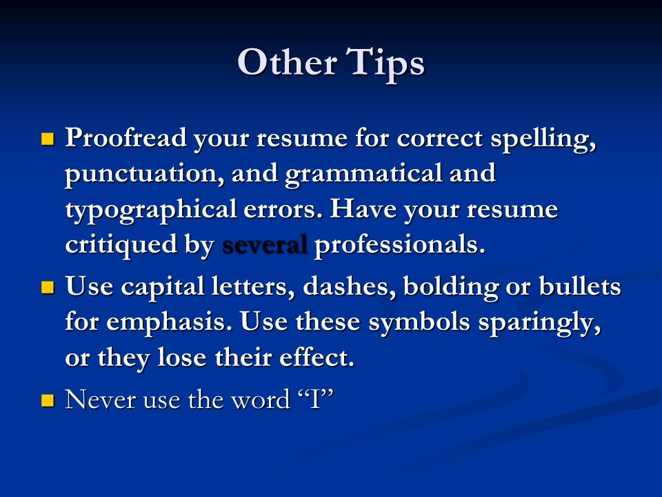 resume correct spelling