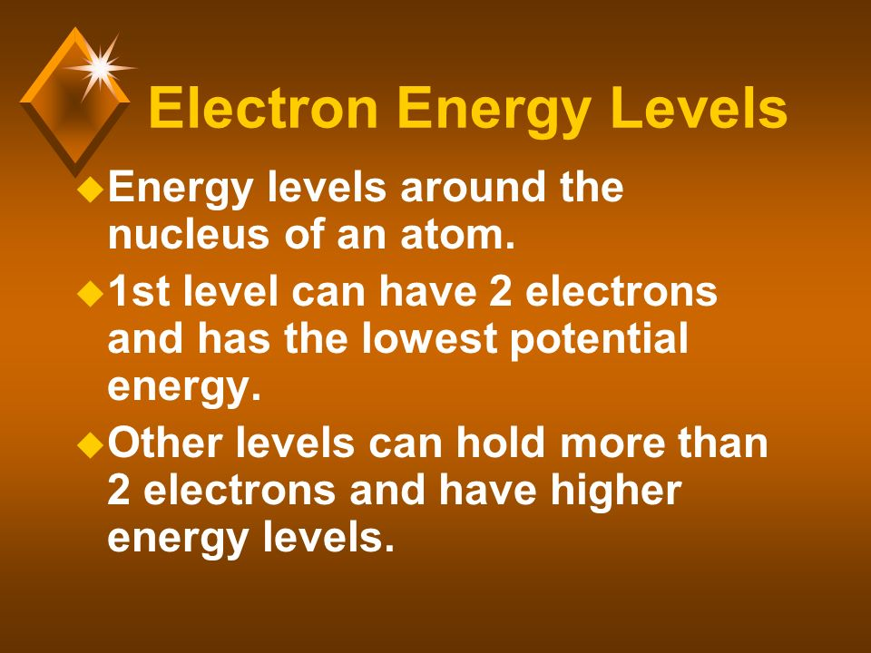 Electron Energy Levels u Energy levels around the nucleus of an atom.