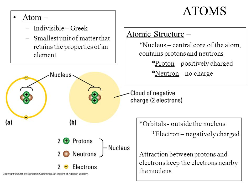ATOMS Atom – –Indivisible – Greek –Smallest unit of matter that retains the properties of an element Atomic Structure – *Nucleus – central core of the atom, contains protons and neutrons *Proton – positively charged *Neutron – no charge *Orbitals - outside the nucleus *Electron – negatively charged Attraction between protons and electrons keep the electrons nearby the nucleus.