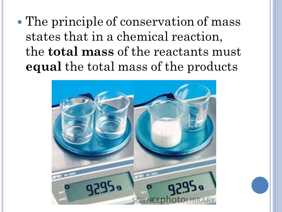 The principle of conservation of mass states that in a chemical reaction, the total mass of the reactants must equal the total mass of the products