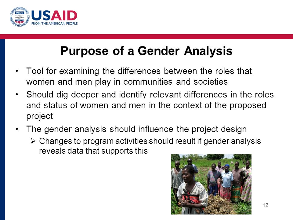 Purpose of a Gender Analysis Tool for examining the differences between the roles that women and men play in communities and societies Should dig deeper and identify relevant differences in the roles and status of women and men in the context of the proposed project The gender analysis should influence the project design  Changes to program activities should result if gender analysis reveals data that supports this 12