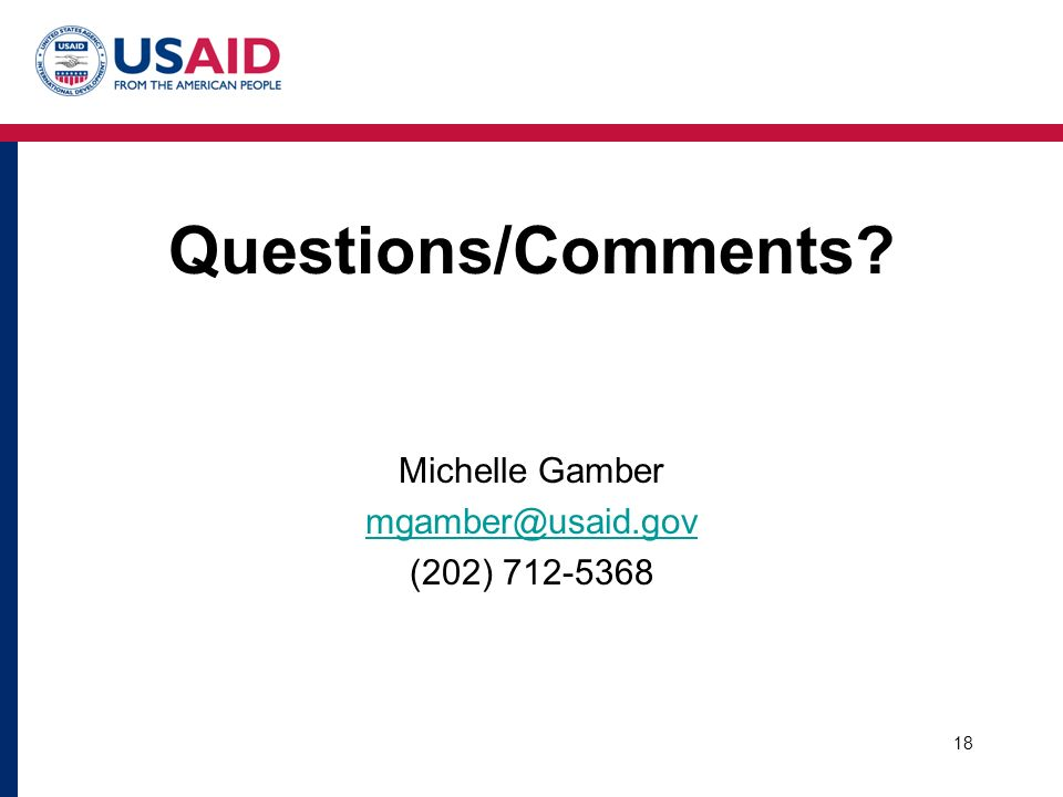 Questions/Comments Michelle Gamber (202)