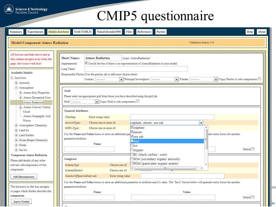 CMIP5 questionnaire