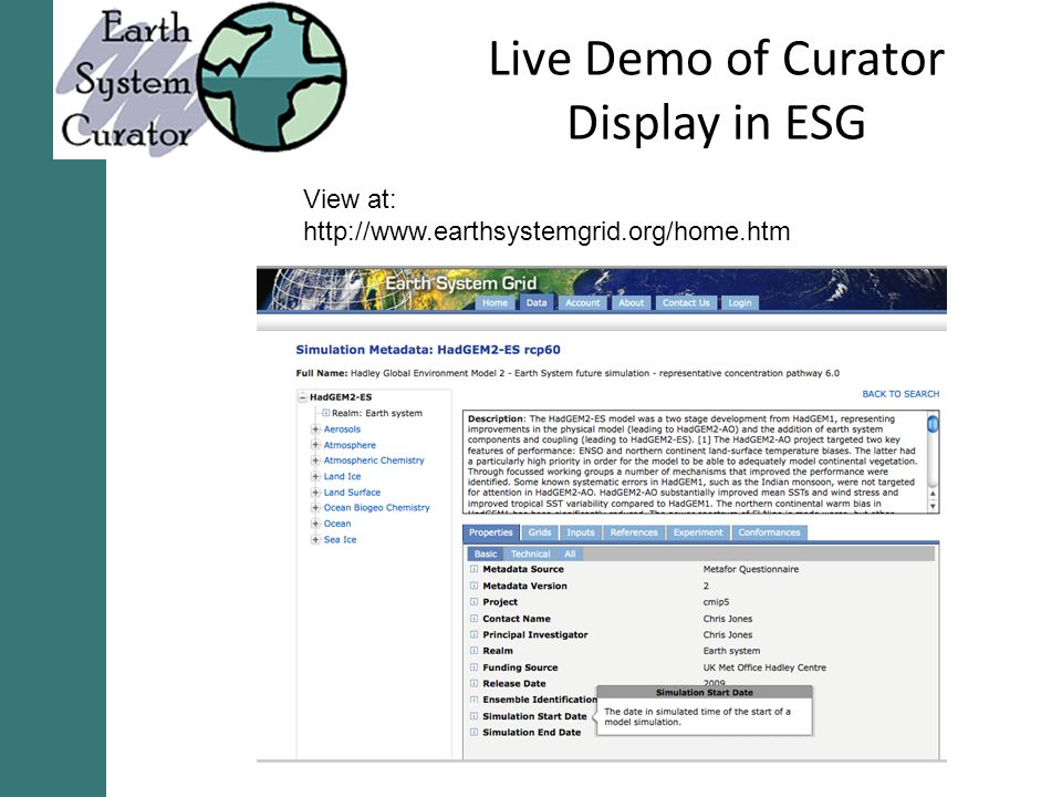 Live Demo of Curator Display in ESG View at: