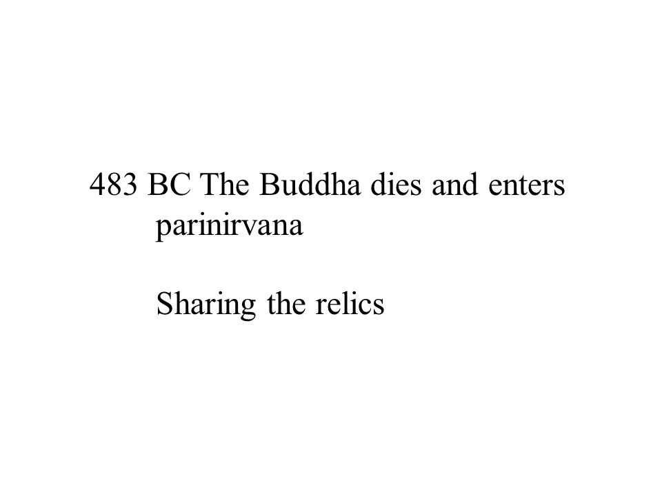 483 BC The Buddha dies and enters parinirvana Sharing the relics