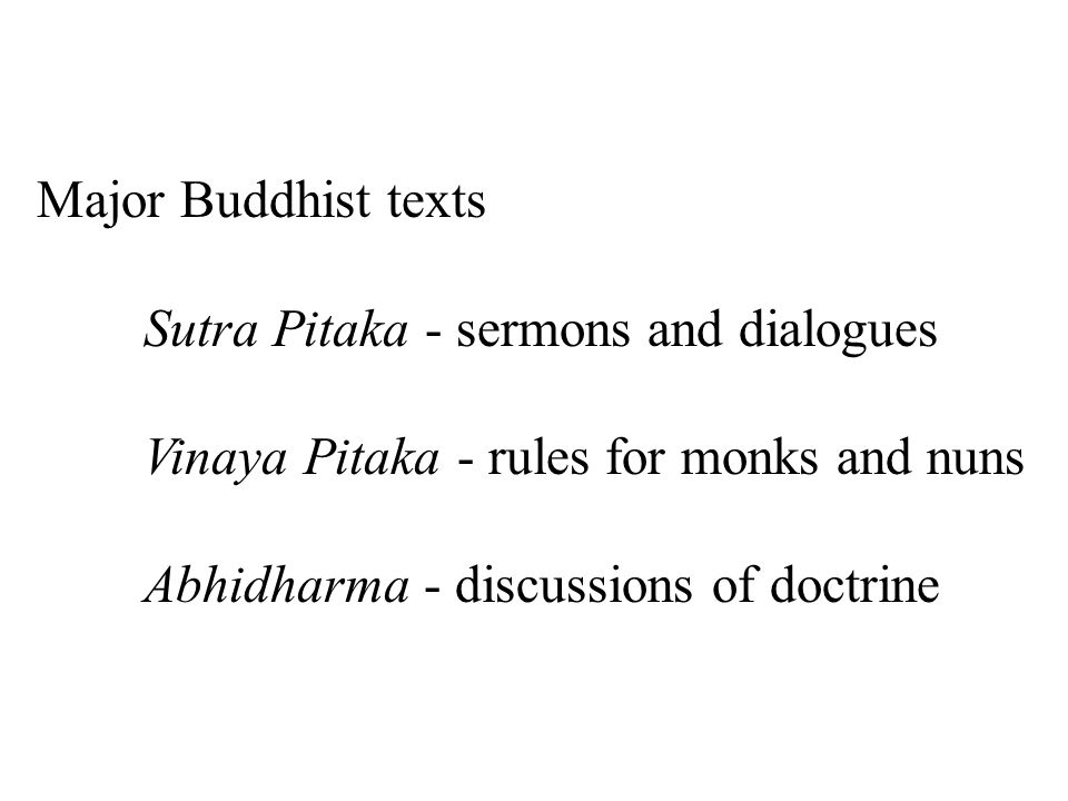 Major Buddhist texts Sutra Pitaka - sermons and dialogues Vinaya Pitaka - rules for monks and nuns Abhidharma - discussions of doctrine
