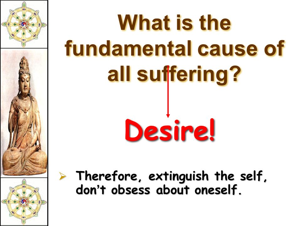 What is the fundamental cause of all suffering. Desire.
