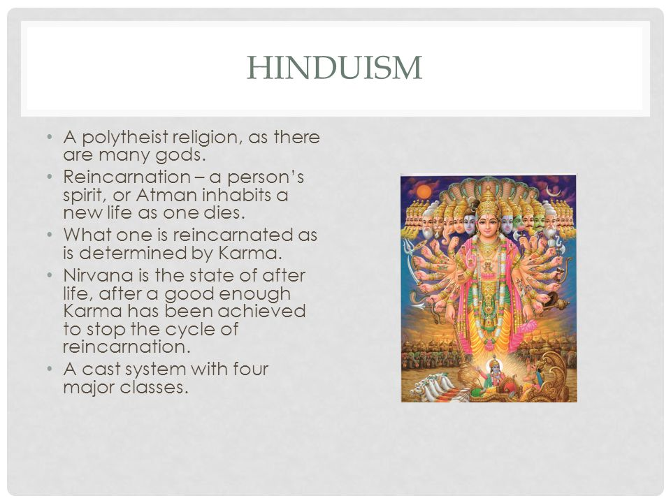 HINDUISM A polytheist religion, as there are many gods.