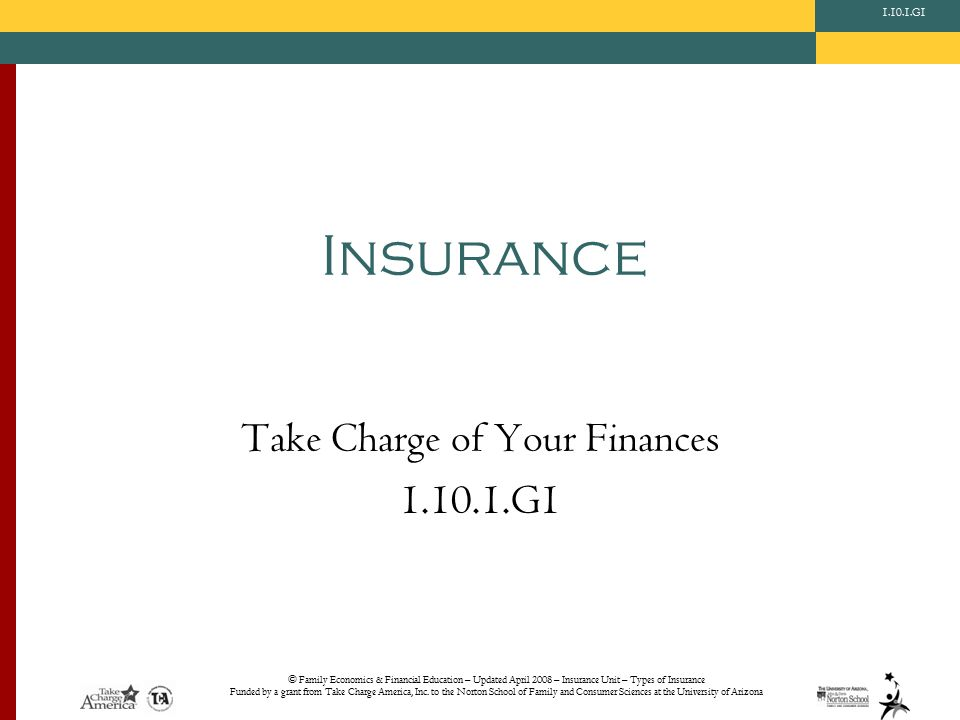 © Family Economics & Financial Education – Updated April 2008 – Insurance Unit – Types of Insurance Funded by a grant from Take Charge America, Inc.