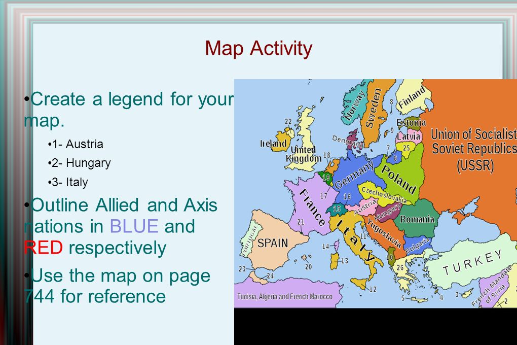Map Activity Create a legend for your map.