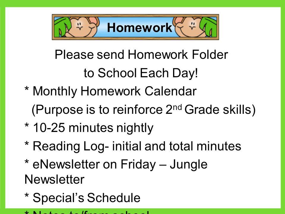 Kindergarten monthly homework calendar