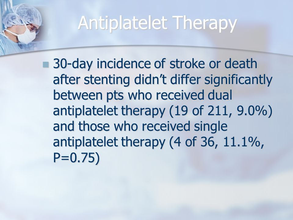 Antiplatelet Therapy 30-day incidence of stroke or death after stenting didn't differ significantly between pts who received dual antiplatelet therapy (19 of 211, 9.0%) and those who received single antiplatelet therapy (4 of 36, 11.1%, P=0.75) 30-day incidence of stroke or death after stenting didn't differ significantly between pts who received dual antiplatelet therapy (19 of 211, 9.0%) and those who received single antiplatelet therapy (4 of 36, 11.1%, P=0.75)