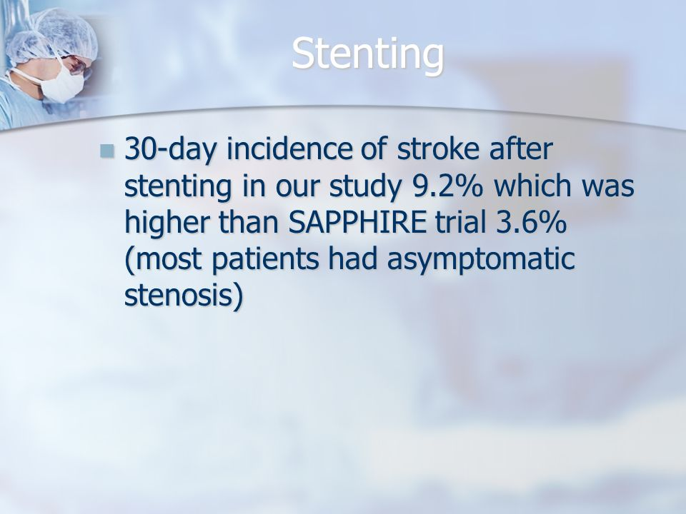 Stenting 30-day incidence of stroke after stenting in our study 9.2% which was higher than SAPPHIRE trial 3.6% (most patients had asymptomatic stenosis) 30-day incidence of stroke after stenting in our study 9.2% which was higher than SAPPHIRE trial 3.6% (most patients had asymptomatic stenosis)