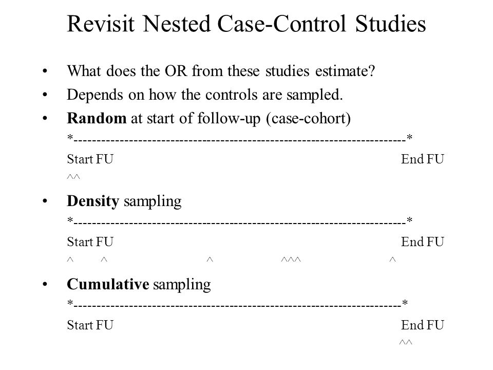 nested case control study vs. case cohort The nested case-control study design (or the case-control in a cohort study) is described here and compared with other designs, including the classic case-control and cohort studies and the case-cohort study.