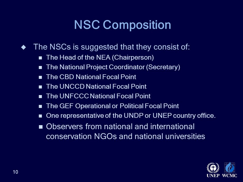 NSC Composition  The NSCs is suggested that they consist of: The Head of the NEA (Chairperson) The National Project Coordinator (Secretary) The CBD National Focal Point The UNCCD National Focal Point The UNFCCC National Focal Point The GEF Operational or Political Focal Point One representative of the UNDP or UNEP country office.