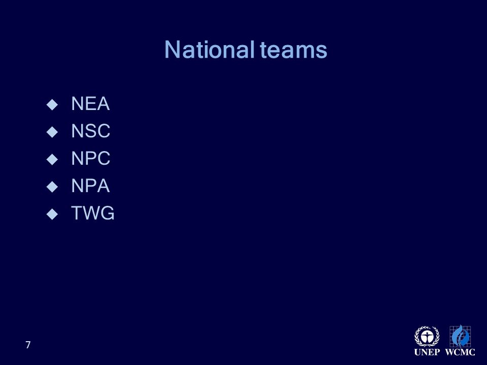 National teams  NEA  NSC  NPC  NPA  TWG 7