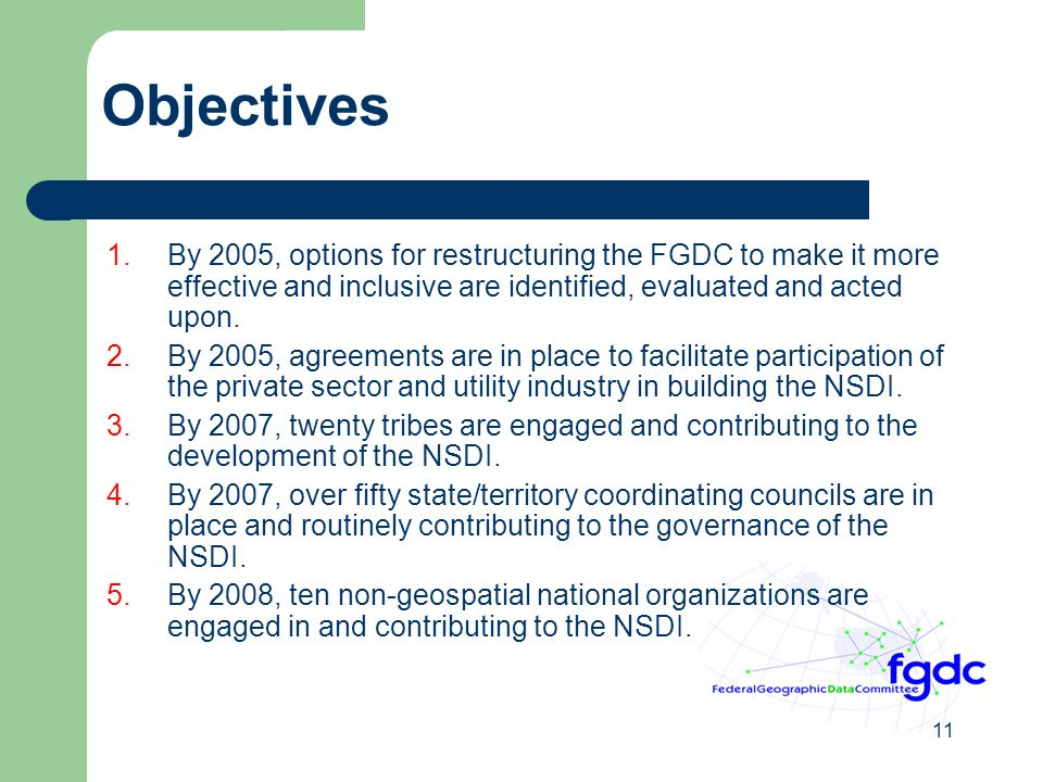 11 Objectives 1.By 2005, options for restructuring the FGDC to make it more effective and inclusive are identified, evaluated and acted upon.