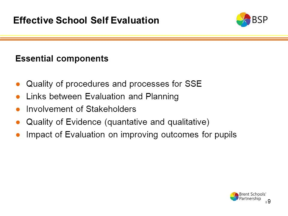 19 Essential components ●Quality of procedures and processes for SSE ●Links between Evaluation and Planning ●Involvement of Stakeholders ●Quality of Evidence (quantative and qualitative) ●Impact of Evaluation on improving outcomes for pupils Effective School Self Evaluation