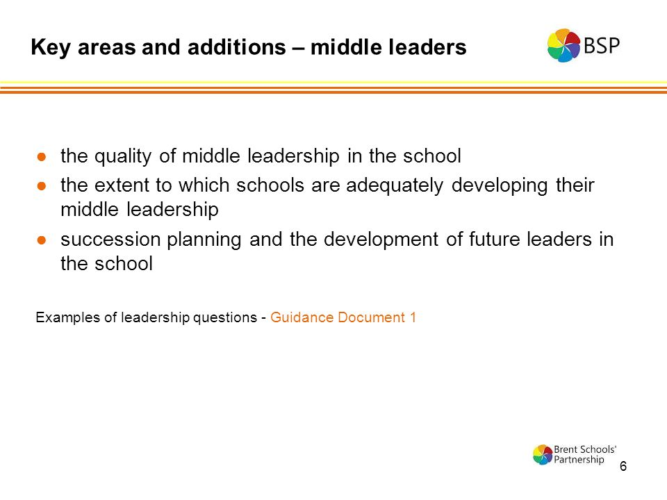 6 ●the quality of middle leadership in the school ●the extent to which schools are adequately developing their middle leadership ●succession planning and the development of future leaders in the school Examples of leadership questions - Guidance Document 1 Key areas and additions – middle leaders
