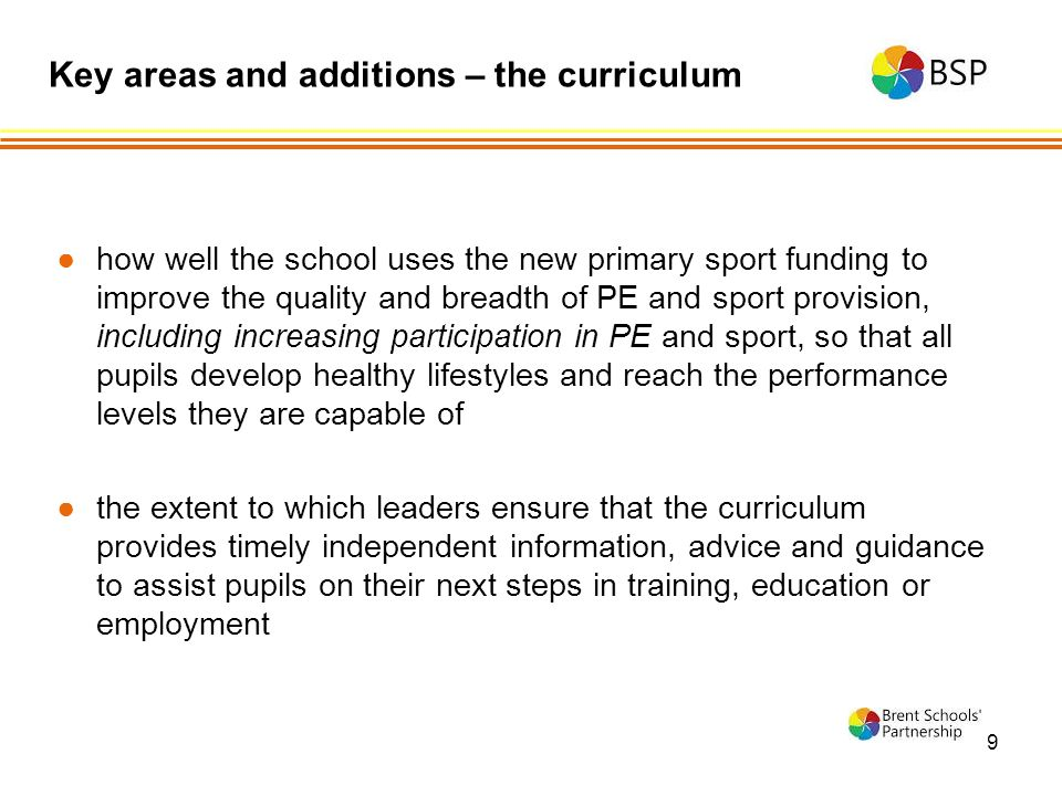 9 ●how well the school uses the new primary sport funding to improve the quality and breadth of PE and sport provision, including increasing participation in PE and sport, so that all pupils develop healthy lifestyles and reach the performance levels they are capable of ●the extent to which leaders ensure that the curriculum provides timely independent information, advice and guidance to assist pupils on their next steps in training, education or employment Key areas and additions – the curriculum