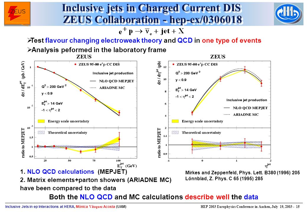 Inclusive Jets in ep Interactions at HERA, Mónica V á zquez Acosta (UAM) HEP 2003 Europhysics Conference in Aachen, July 19, Inclusive jets in Charged Current DIS ZEUS Collaboration - hep-ex/