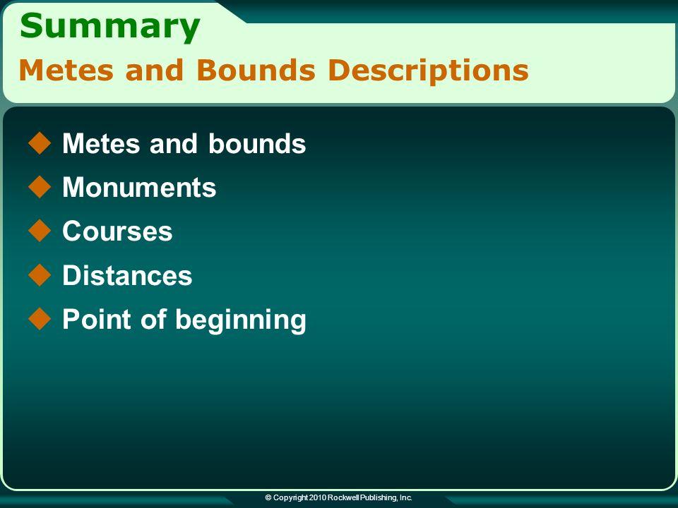 Summary © Copyright 2010 Rockwell Publishing, Inc.