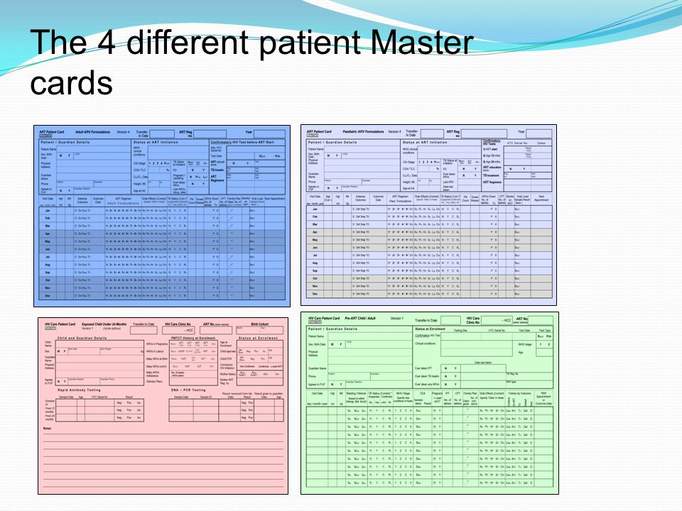 The 4 different patient Master cards
