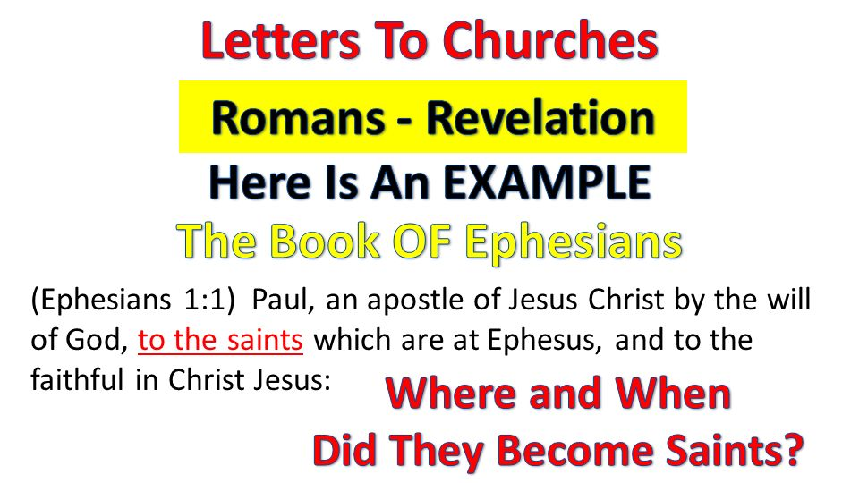 (Ephesians 1:1) Paul, an apostle of Jesus Christ by the will of God, to the saints which are at Ephesus, and to the faithful in Christ Jesus:
