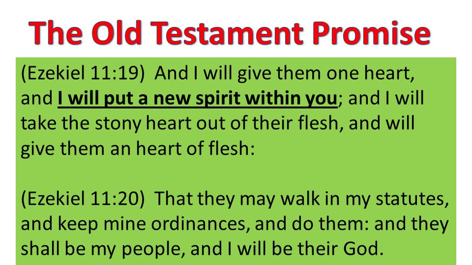 (Ezekiel 11:19) And I will give them one heart, and I will put a new spirit within you; and I will take the stony heart out of their flesh, and will give them an heart of flesh: (Ezekiel 11:20) That they may walk in my statutes, and keep mine ordinances, and do them: and they shall be my people, and I will be their God.