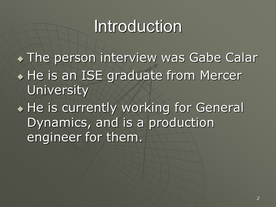 1 The Interview of Gabriel Calar Presentation by Joshua Smith ...