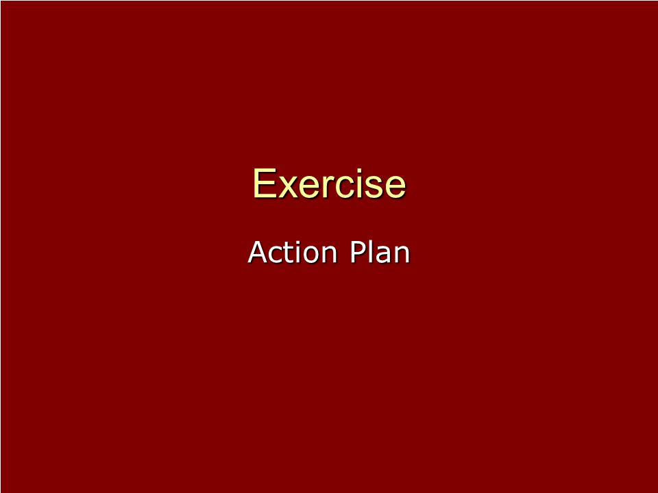 Exercise Action Plan