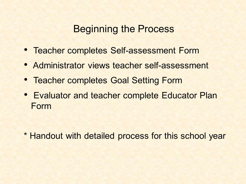 5 Beginning The Process Teacher Completes Self Assessment Form  Administrator Views Teacher Self Assessment Teacher Completes Goal Setting  Form Evaluator And ...