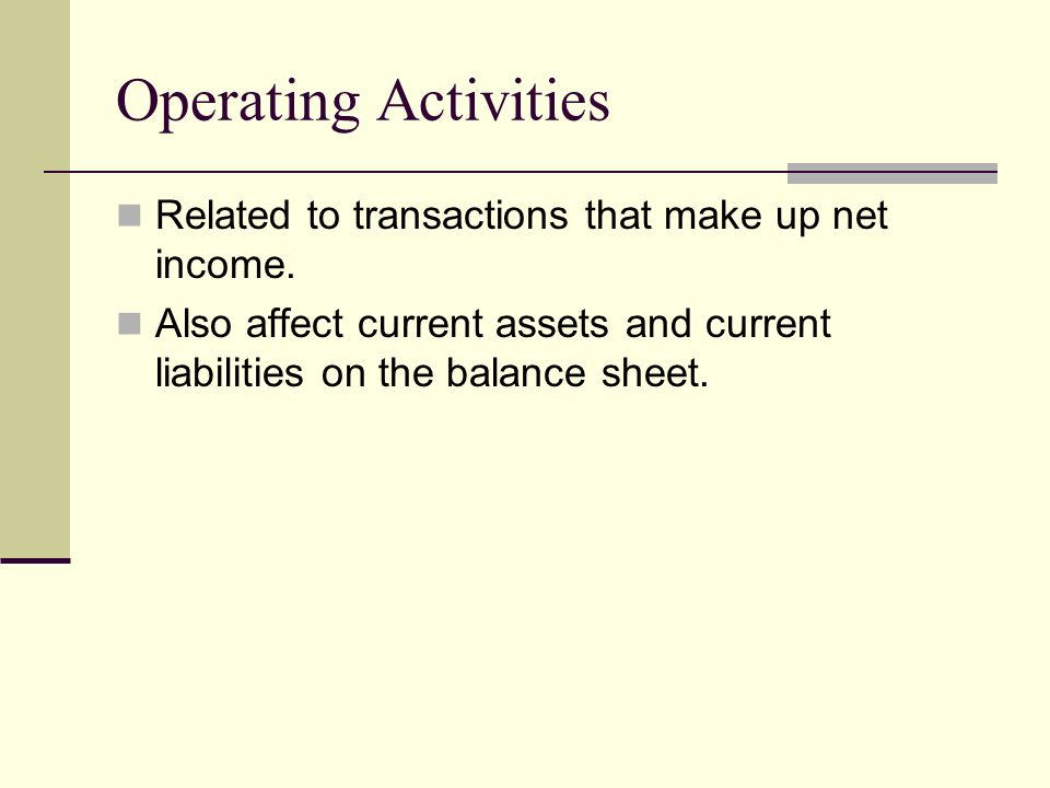 Operating Activities Related to transactions that make up net income.