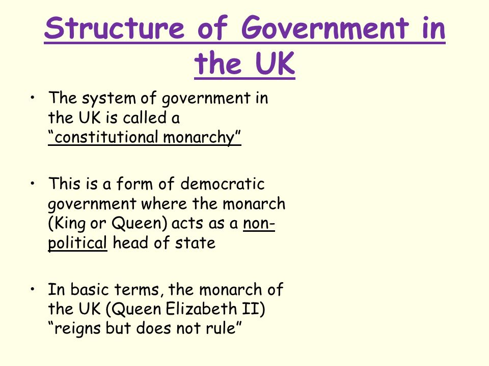 The UK Constitutional Arrangement Starter Task 1.Who is the head ...