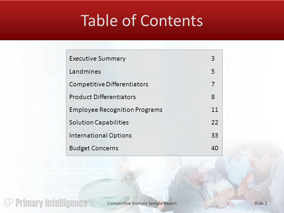 2 Table Of Contents Competitive Analysis Sample ReportSlide 2 Executive  Summary3 Landmines5 Competitive Differentiators7 Product Differentiators8  Employee ...