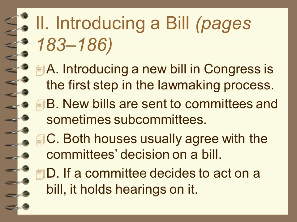 Chapter 7 Congress at Work. Chapter 7, Section 1 How a Bill ...