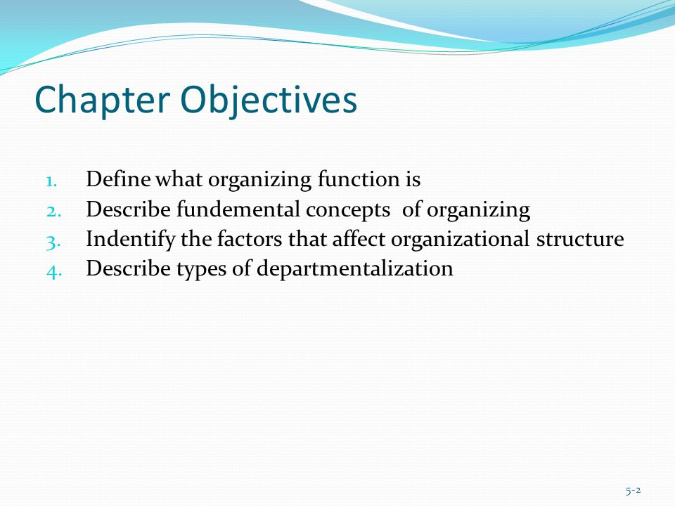 Chapter Objectives 1. Define what organizing function is 2. Describe fundemental concepts of organizing 3. Indentify the factors that affect organizat