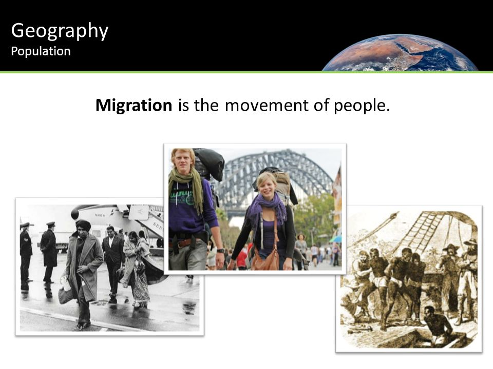 Geography Population Migration is the movement of people.
