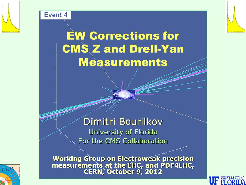 EW Corrections for CMS Z and Drell-Yan Measurements Dimitri Bourilkov University of Florida For the CMS Collaboration Working Group on Electroweak precision measurements at the LHC, and PDF4LHC, CERN, October 9, 2012