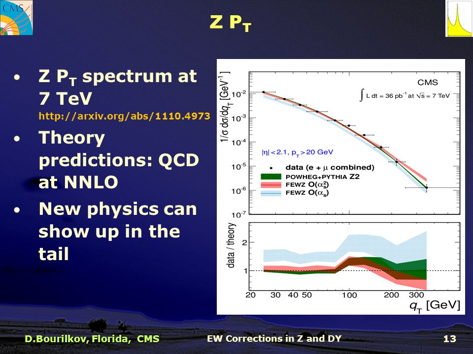 Z P T Z P T spectrum at 7 TeV   Theory predictions: QCD at NNLO New physics can show up in the tail D.Bourilkov, Florida, CMS EW Corrections in Z and DY 13