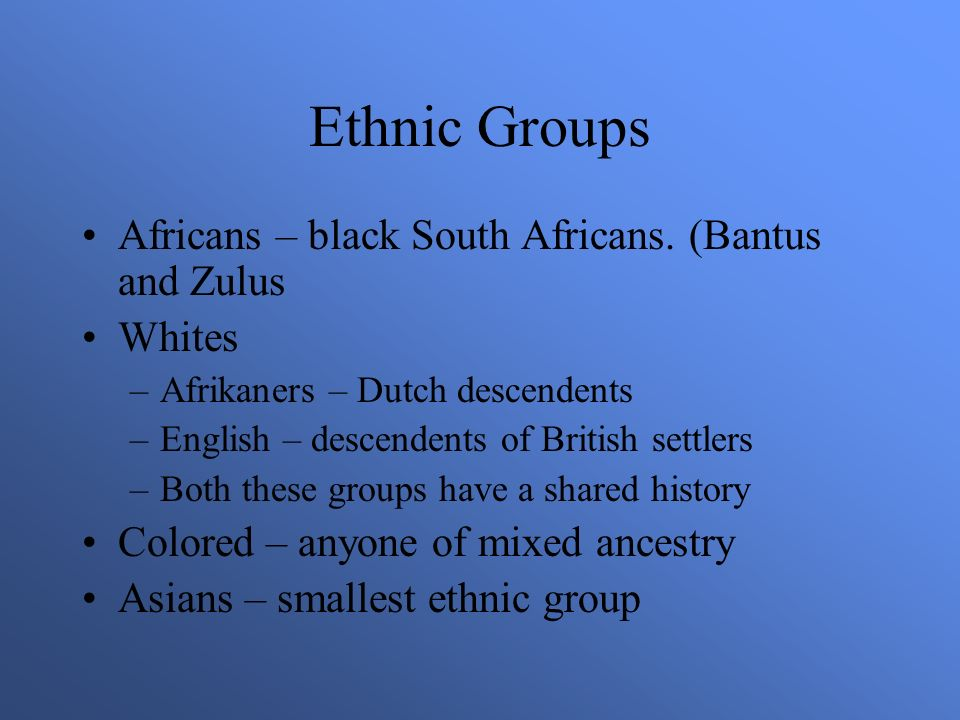 Ethnic Groups Africans – black South Africans.