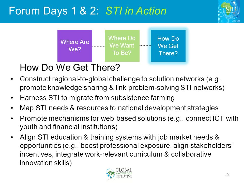 Forum Days 1 & 2: STI in Action 17 How Do We Get There.