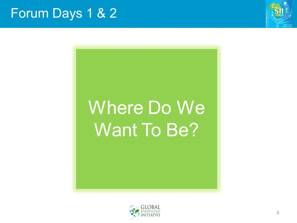 Forum Days 1 & 2 9 Where Do We Want To Be