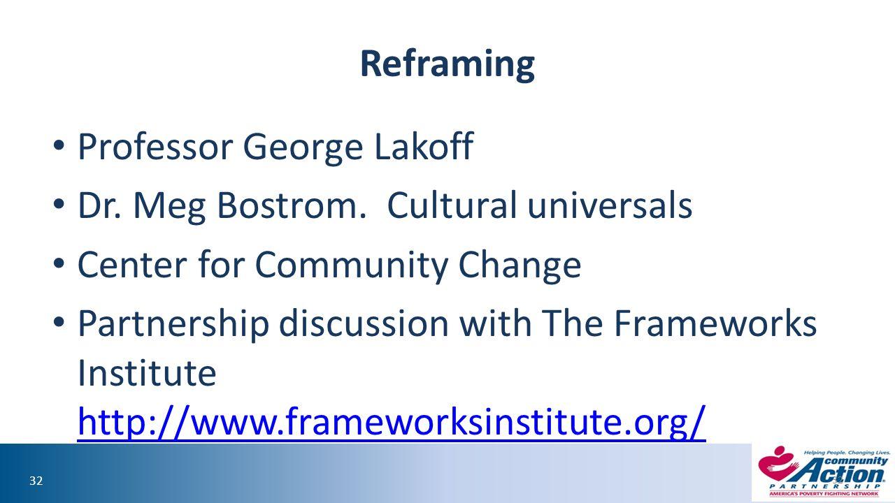32 Reframing Professor George Lakoff Dr. Meg Bostrom.