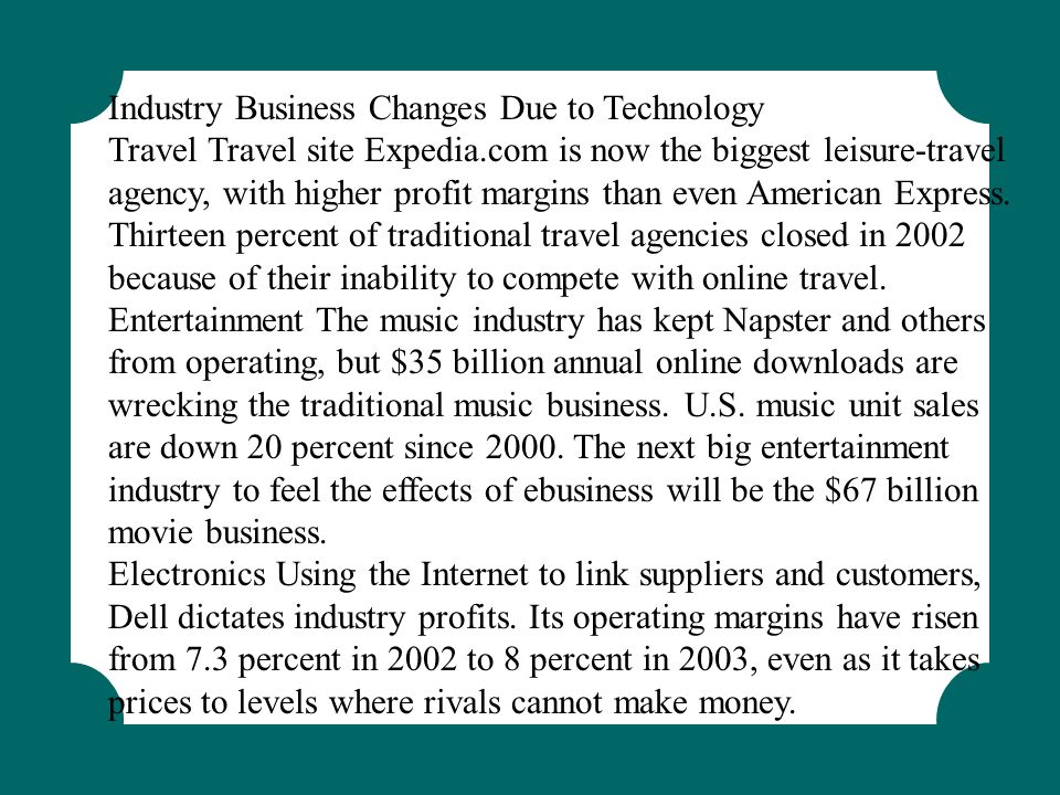 Industry Business Changes Due to Technology Travel Travel site Expedia.com is now the biggest leisure-travel agency, with higher profit margins than e