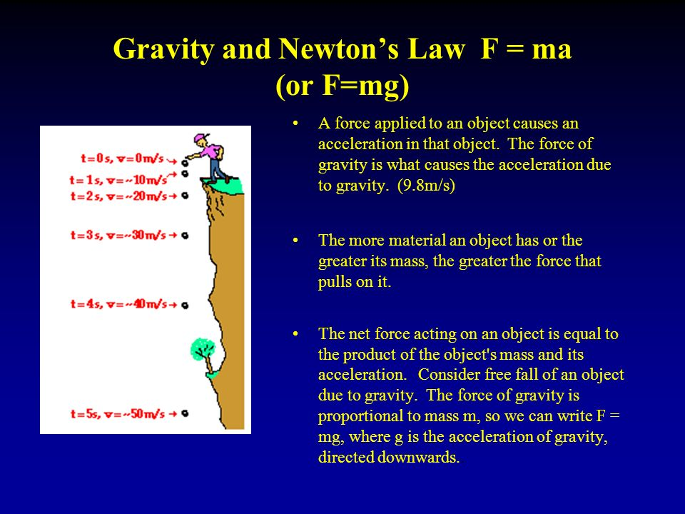 Gravity and Newton's Law F = ma (or F=mg) A force applied to an object causes an acceleration in that object.