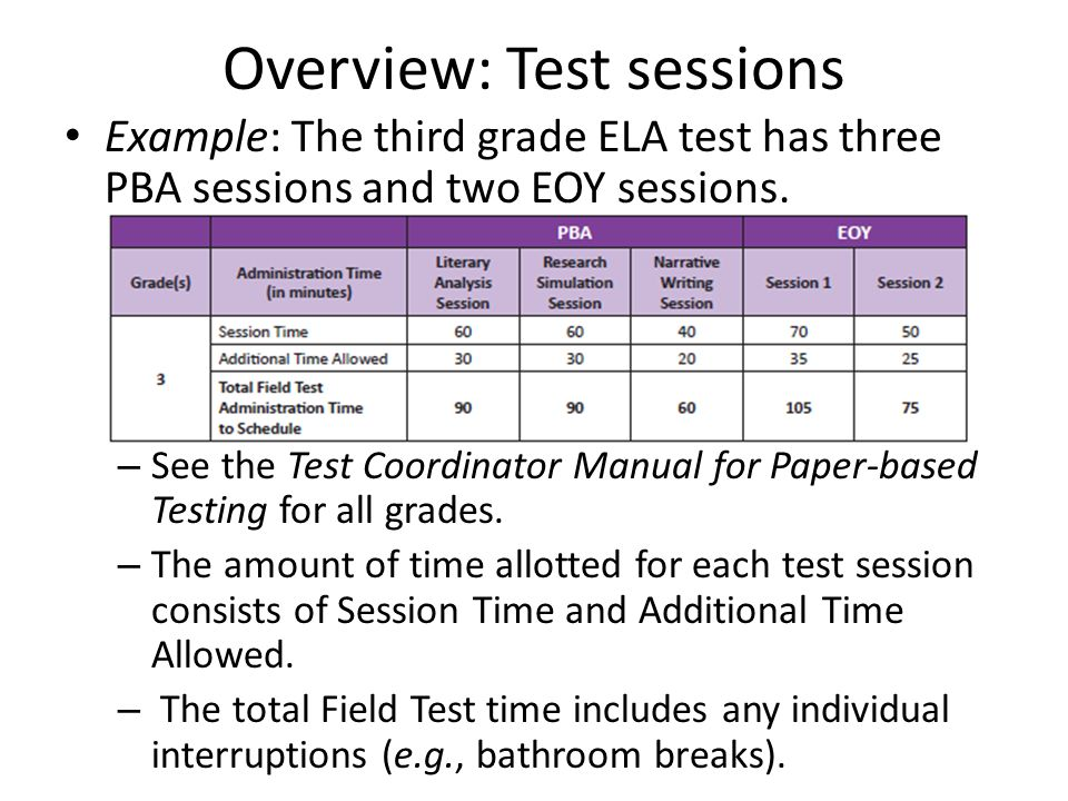 Overview: Test sessions Example: The third grade ELA test has three PBA sessions and two EOY sessions.