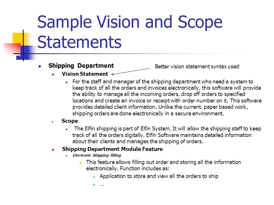 1 Bts330 Vision And Scope. √ Determine A Vision For The Business
