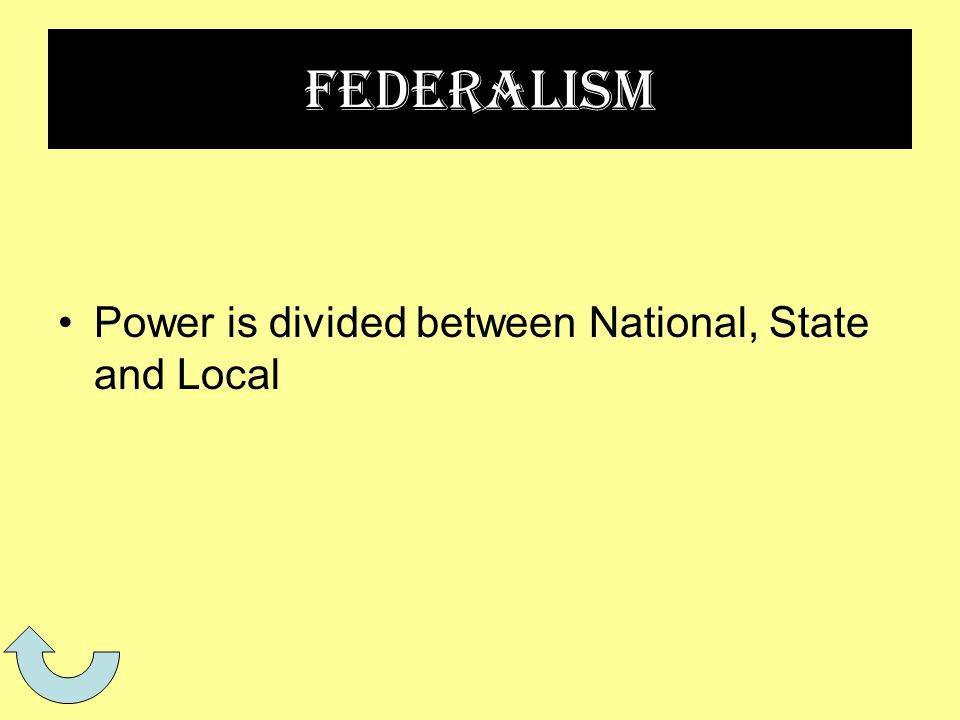 Federalism Power is divided between National, State and Local