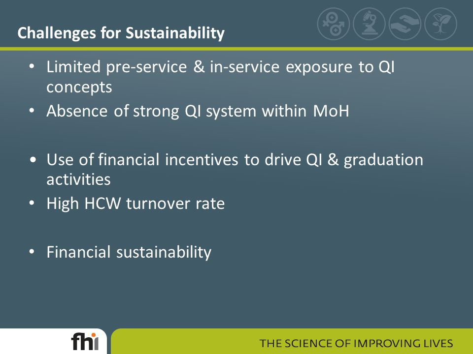 Challenges for Sustainability Limited pre-service & in-service exposure to QI concepts Absence of strong QI system within MoH Use of financial incentives to drive QI & graduation activities High HCW turnover rate Financial sustainability